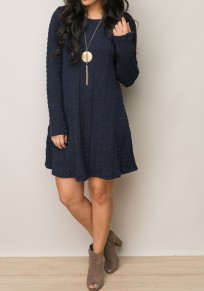 Sapphire Blue Patchwork Draped Round Neck Casual Pullover Sweater