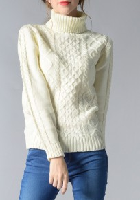 White High Neck Long Sleeve Casual Pullover Sweater