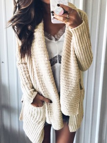 Beige Pockets Irregular Turndown Collar Long Sleeve Casual Cardigan Sweater