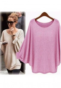 Rose Carmine Round Neck Dolman Sleeve Loose Casual Pullover Sweater