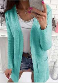Sky Blue Pockets V-neck Long Sleeve Casual Wool Cardigan Sweater