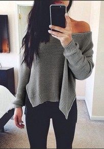 Grey Irregular Off Shoulder Slit V-neck Long Sleeve Pullover Sweater