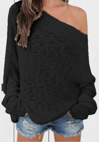 Black Irregular Off Shoulder Boat Neck Long Sleeve Pullover Sweater