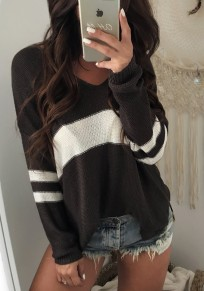 Black Color Block Patched Striped V-neck Long Sleeve Casual Pullover Sweater