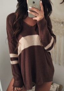 Brown Color Block Patched Striped V-neck Long Sleeve Casual Pullover Sweater
