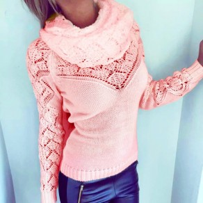 Pink Wrap 2-in-1 Round Neck Long Sleeve Casual Pullover Sweater
