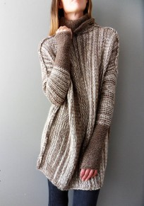 Khaki Irregular High Neck Long Sleeve Pullover Sweater