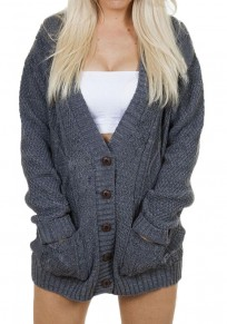 Dark Grey Single Breasted Pockets V-neck Dolman Sleeve Casual Cardigan Sweater