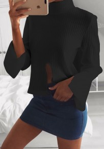 Black Cut Out High Neck Long Sleeve Fashion Pullover Sweater