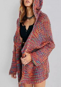 Multicolor Colorful Pockets Hooded V-neck Cardigan Sweater