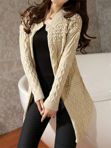 Beige Patchwork Pearl V-neck Fashion Knit Cardigan Sweater
