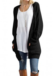 Black Pockets Long Sleeve Oversize Fashion Cardigan Sweater