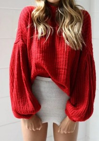Red High Neck Lantern Sleeve Fashion Pullover Sweater