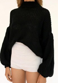 Black High Neck Lantern Sleeve Fashion Pullover Sweater