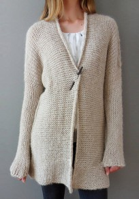 Apricot V-neck Long Sleeve Cardigan Sweater