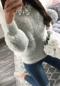 Grey Round Neck Long Sleeve Casual Pullover Sweater