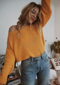 Yellow V-neck One-Shoulder Long Sleeve Casual Oversized Pullover Sweater
