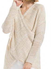 Khaki Irregular V-neck Long Sleeve Casual Pullover Sweater