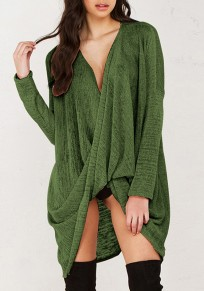 Green Irregular V-neck Long Sleeve Wrap Loose Fashion Pullover Sweater