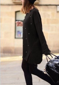 Black Patchwork Irregular Beading Side Slit Round Neck Long Sleeve Pullover Sweater