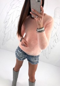 Pink Beading Round Neck Long Sleeve Fashion Pullover Sweater