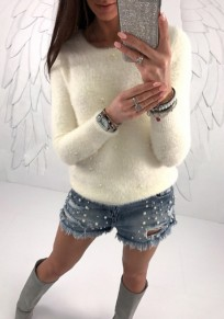 White Beading Round Neck Long Sleeve Fashion Pullover Sweater