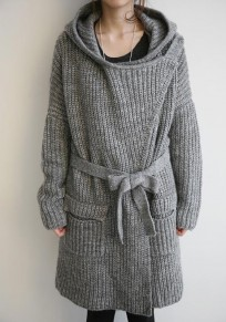 Grey Pockets Sashes Buttons Long Sleeve Hooded Cardigan Sweater