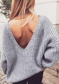 Grey Draped V-neck Long Sleeve Fashion Pullover Sweater