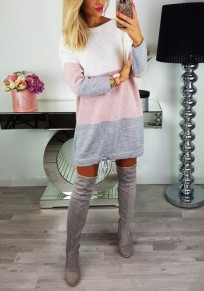 Pink Color Block Drawstring Round Neck Fashion Pullover Sweater