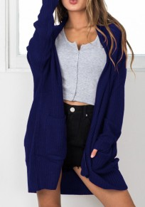 Blue Pockets Long Sleeve Casual Knit Cardigan Sweater