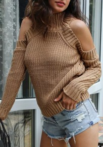 Khaki Plain Off-shpulder High Neck Long Sleeve Fashion Pullover Sweater