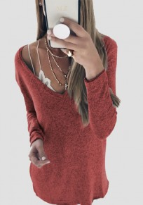 Red V-neck Long Sleeve Loose Fashion Pullover Sweater