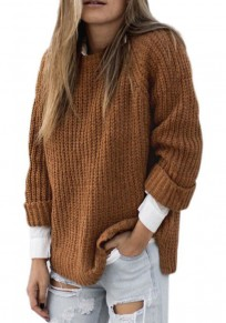 Khaki Round Neck Long Sleeve Casual Oversized Pullover Sweater