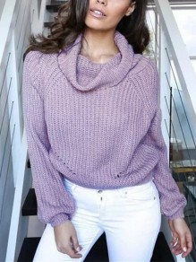 Pink Plain Crop Polo Neck Fashion Pullover Sweater