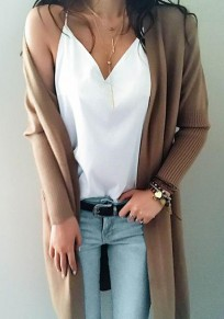 Khaki Pockets V-neck Long Sleeve Casual Long Cardigan Sweater