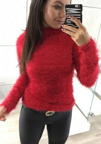 Red Mohair Bodycon Long Sleeve Fashion Pullover Sweater