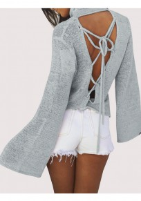Grey Cut Out Tie Back Backless High Neck Pullover Sweater