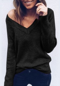 Black Plain Plunging Neckline Long Sleeve Fashion Pullover Sweater