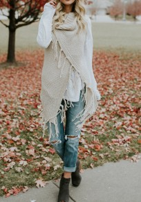 White Plain Tassel Acrylic Fashion Cardigan Sweater
