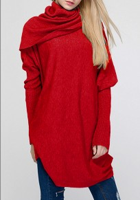 Red Band Collar High Neck Long Dolman Sleeve Pullover Sweater