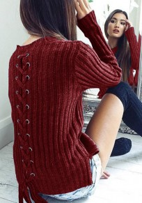 Burgundy Irregular Lace-up Side Slit Round Neck Long Sleeve Pullover Sweater