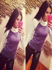 Purple High Neck Long Sleeve Fashion Pullover Sweater