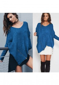 Blue Zipper Irregular Round Neck Casual Pullover Sweater