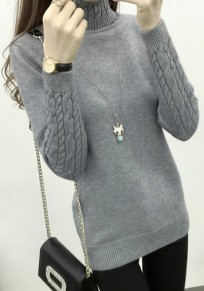 Grey Band Collar High Neck Long Sleeve Pullover Sweater