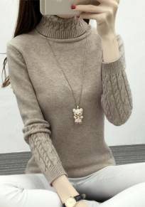 Khaki Band Collar High Neck Long Sleeve Pullover Sweater