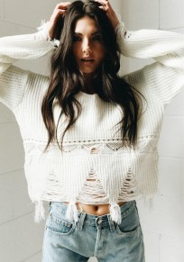 White Cut Out Ripped Destroyed Slouchy Round Neck Casual Pullover Sweater