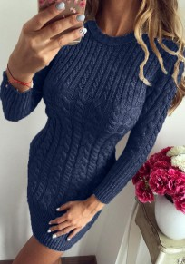 Navy Blue Print Round Neck Fashion Pullover Sweater