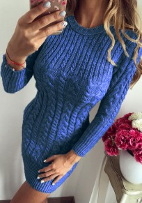 Blue Print Round Neck Fashion Pullover Sweater