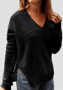 Black Double Slit V-neck Long Sleeve Fashion Pullover Sweater