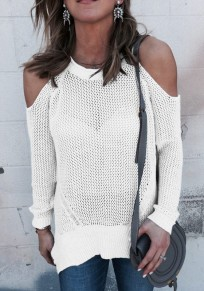 White Cut Out Sleeve Knitted Casual Going out Pullover Sweater